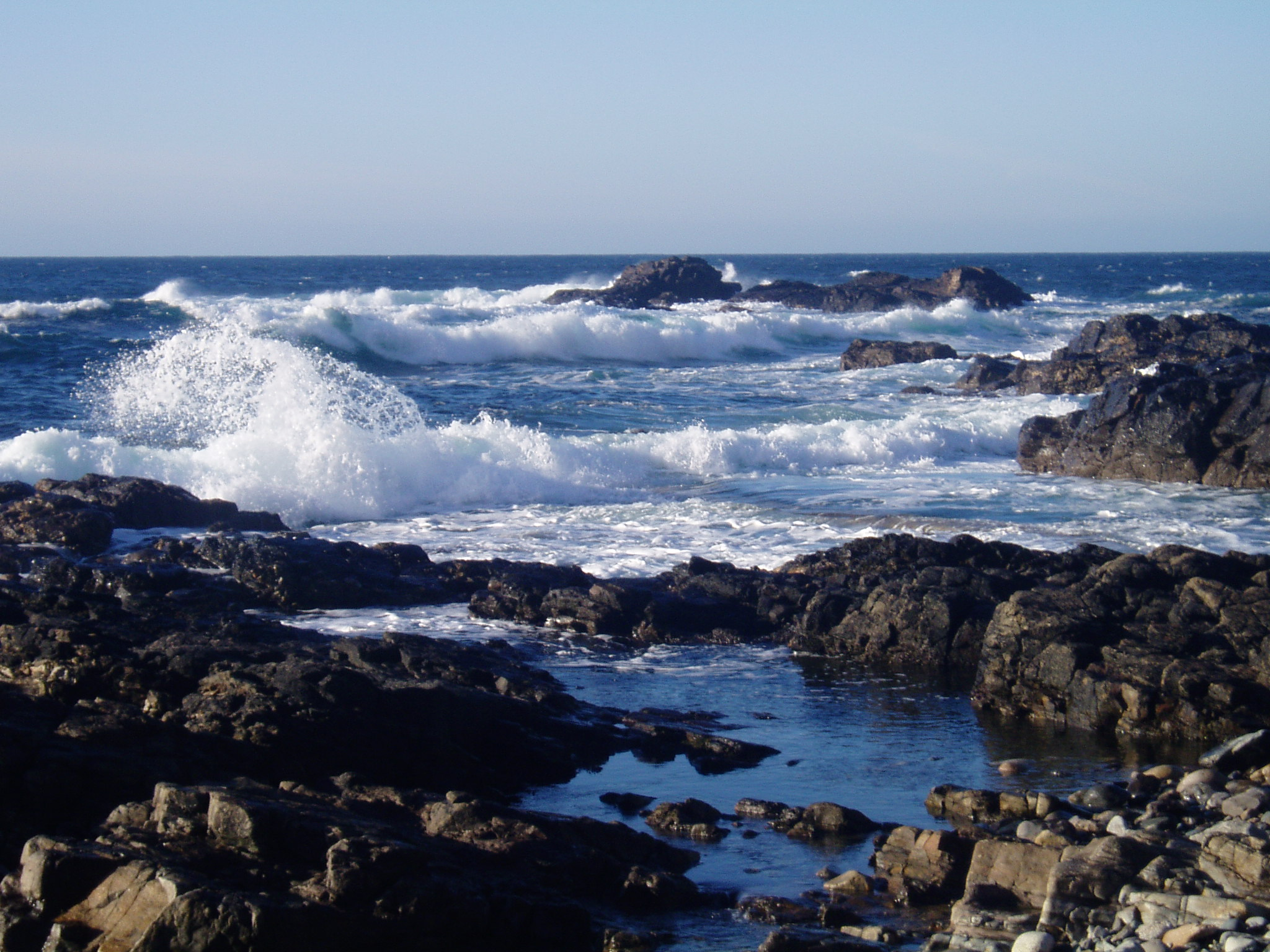 Waves breaking at Priests Cove, Cape Cornwall.