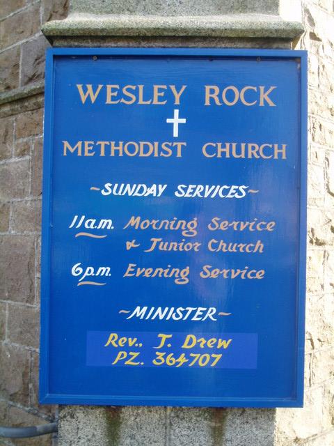 Wesley Rock Chapel, Heamoor - noticeboard