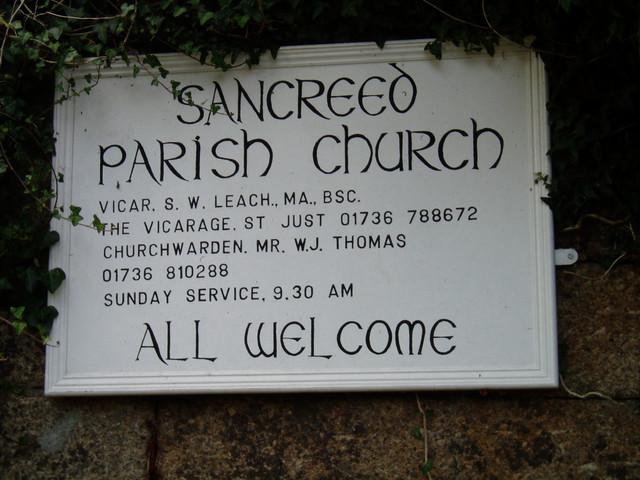 Sancreed Parish Church noticeboard