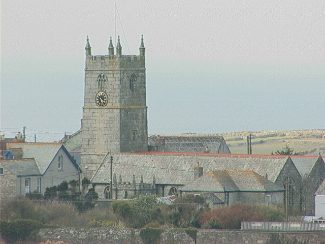 St Just Parish Church as seen from Carn Bosavern