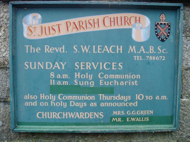 St Just Parish Church noticeboard