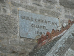 Tregerest Chapel close-up of Bible Christan plaque.